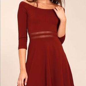 NWT Lulu's Wine Yes to the Mesh Off Shoulder Dress
